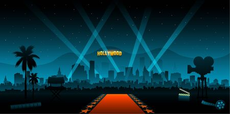 Hollywood movie red carpet background and city Ilustrace