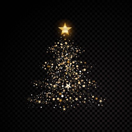 Gold glittering christmas tree star dust sparkling particles on transparent Vector glamour fashion illustration Ilustração
