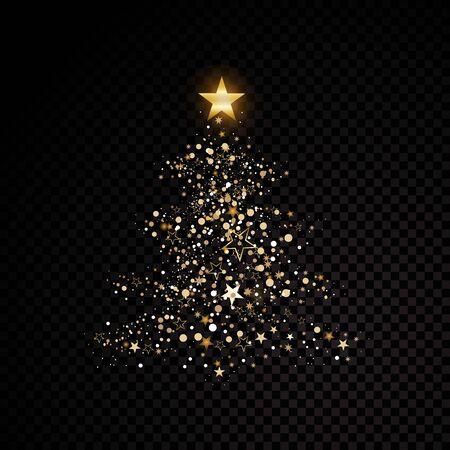 Gold glitzernder Weihnachtsbaum-Sternstaub funkelnde Partikel auf transparenter Vektor-Glamour-Modeillustration