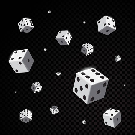 White casino dices falling isolated on black background