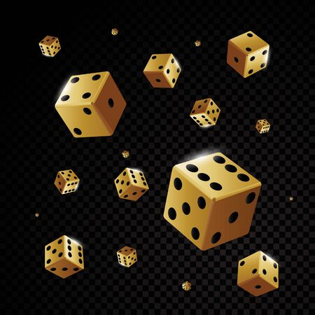 Golden casino dices falling isolated on black background