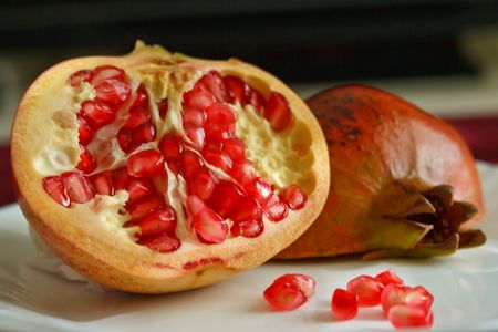 pomegranate on a plate
