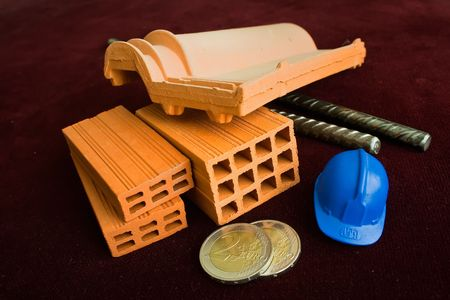 building materials on fthe construction industry isolated in a dark backgroud