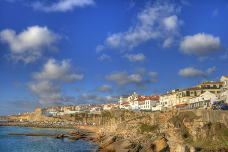 portuguese village view of atlantic coast Stock Photo