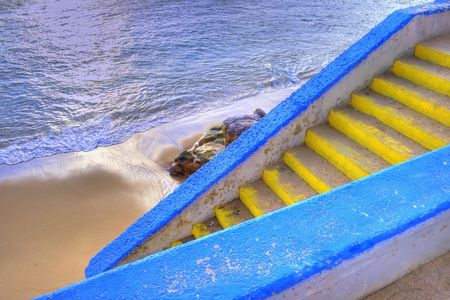 colorful stairway to the beach in seafront