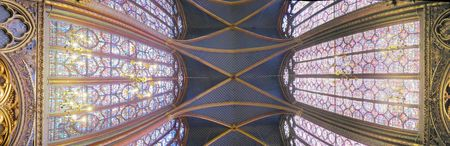 panorama view of an gothic nave cathedral