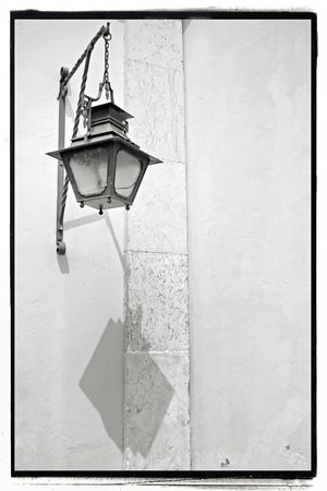 vintage look of an old street lamp with frame photo