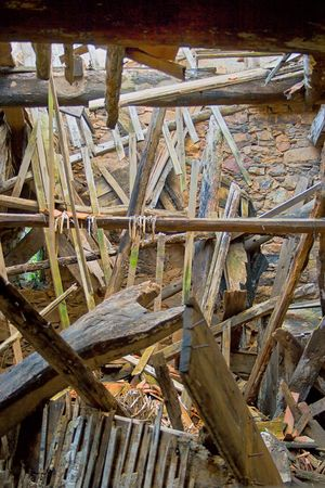 interior view of a collapsed building made of wood Stock Photo - 6037919