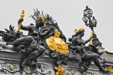 detail view of statues in gold and black colors Stock Photo - 6037920
