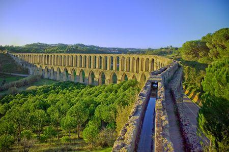 panoramic view of the XVI century aqueduct in portugal Stock Photo