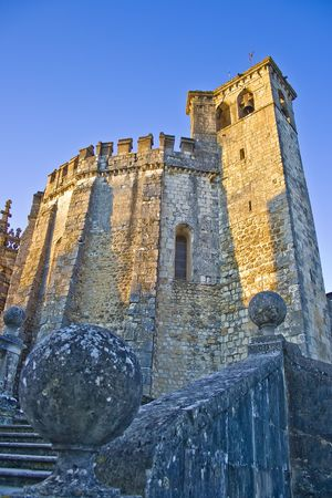exterior view of the round fortified  templars church in Tomar Stock Photo