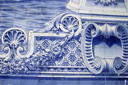 detail of a tile decorated wall portuguese