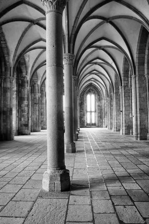 interior view of a medieval hall in an european monastery