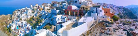 thira: panoramic view of santorini island village thira Stock Photo