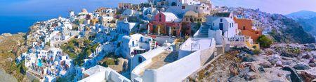 panoramic view of santorini island village thira Stock Photo
