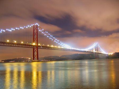 night view of lisbon 25 de abrils bridge photo