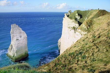 people enjoying the view of  the famous normandy Stock Photo - 12935048