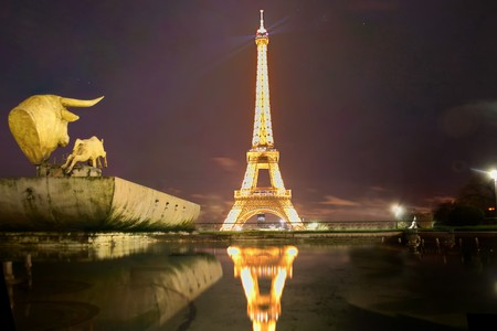 panoramic view of sculpture with paris eiffel tower in the background