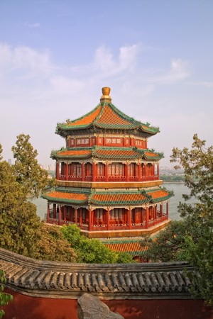 summer palace tower pagodas, as viewed in the sunset