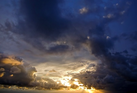 cloudscape of an storm at sunset Stock Photo