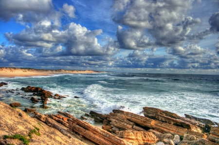 Panorama view of portuguese atlantic coast in a very cloudy day