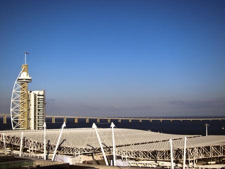 ,Vasco da Gama bridge in the background and tower