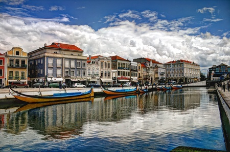 ria: View from the main water canal with typical boats in foreground
