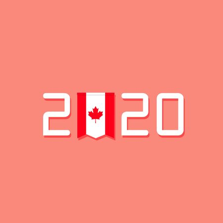 Year 2020 Typography Concept Design with flag Canada