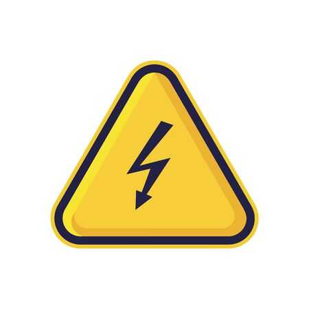 Danger Electricity Sign Isolated On White Background. Yellow Triangle Warning Symbol Simple, Flat, Vector, Icon You Can Use Your Website Design, Mobile App Or Industrial Design. Vector Illustration