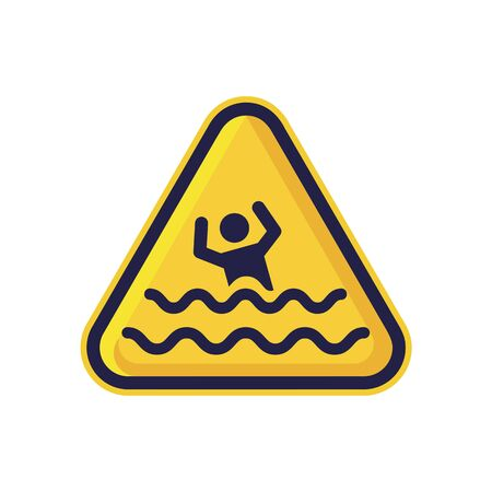 Beware Of Drowning Sign Isolated On White Background. Triangle Warning Symbol Simple, Flat Vector, Icon You Can Use Your Website Design, Mobile App Or Industrial Design. Vector Illustration