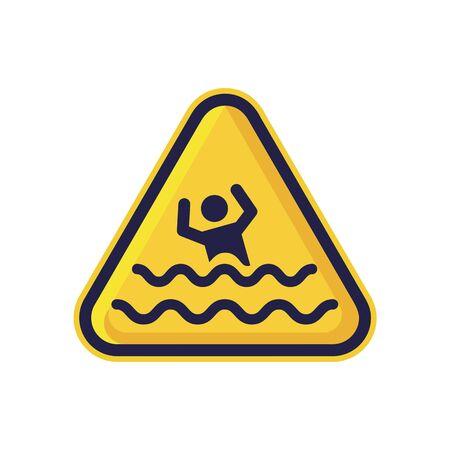 Cuidado con el signo de ahogamiento aislado sobre fondo blanco. Símbolo de advertencia de triángulo simple, vector plano, icono que puede utilizar su diseño de sitio web, aplicación móvil o diseño industrial. Ilustración vectorial Ilustración de vector