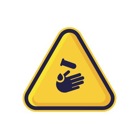 Corrosive Substance Sign Isolated On White Background. Yellow Triangle Warning Symbol Simple, Flat, Vector, Icon You Can Use Your Website Design, Mobile App Or Industrial Design. Vector Illustration