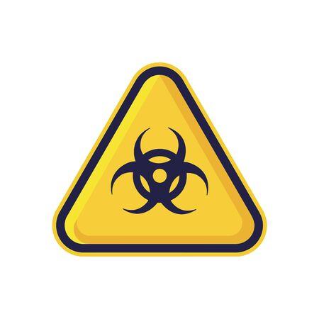Signe de danger biologique isolé sur fond blanc. Symbole d'avertissement de triangle simple, vecteur plat, icône que vous pouvez utiliser la conception de votre site Web, votre application mobile ou votre design industriel. Illustration vectorielle