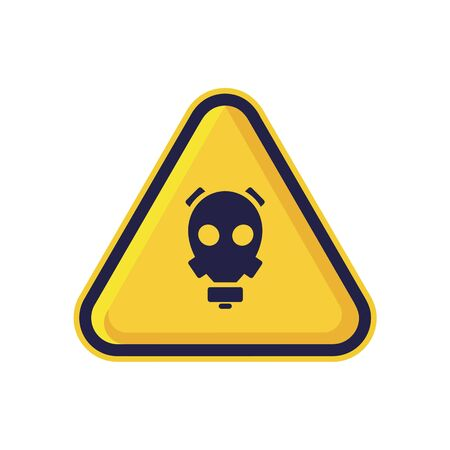Gas Mask Sign Isolated On White Background. Yellow Triangle Warning Symbol Simple, Flat, Vector, Icon You Can Use Your Website Design, Mobile App Or Industrial Design. Vector Illustration Gas Mask  イラスト・ベクター素材