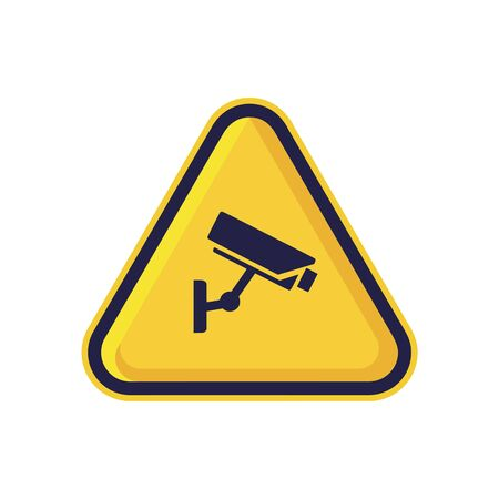 CCTV Warning Sign Isolated On White Background. Yellow Triangle Caution Symbol Simple, Flat, Vector, Icon You Can Use Your Website Design, Mobile App Or Industrial Design. Vector Illustration