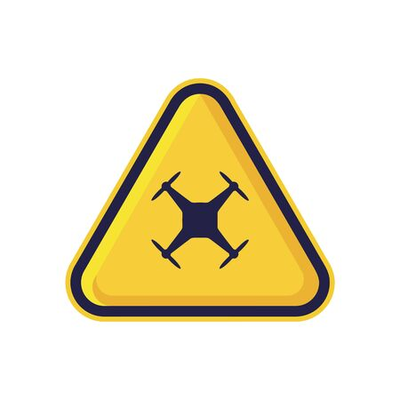 Drone Warning Sign Isolated On White Background. Yellow Triangle Caution Symbol Simple, Flat, Vector, Icon You Can Use Your Website Design, Mobile App Or Industrial Design. Vector Illustration