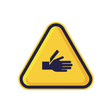 Cutting of Fingers or Hand Warning Triangle Sign Isolated On White Background. Caution Symbol Simple, Flat Vector, Icon You Can Use Your Website Design, Mobile App Or Industrial Design