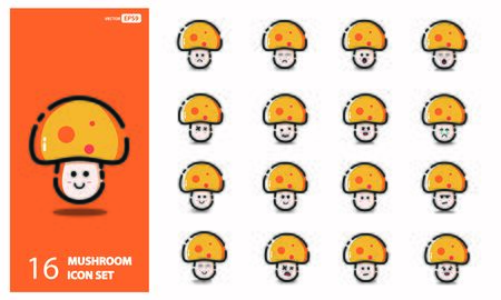 Set of cute mushroom Line Icons In Different Expressions