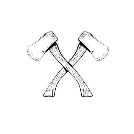 Hand drawn tourist axes. Isolated vector illustration in sketch engraving style Ilustração