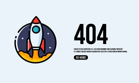 Oops 404 Page Interface Design with Rocket Ship Vector Illustration