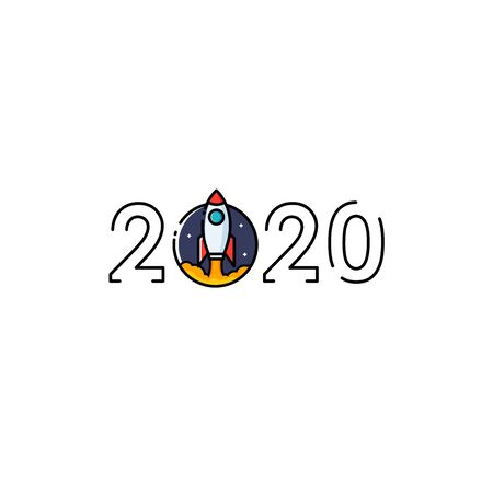 Year 2020 Typography Concept Design with Rocket Ilustracja