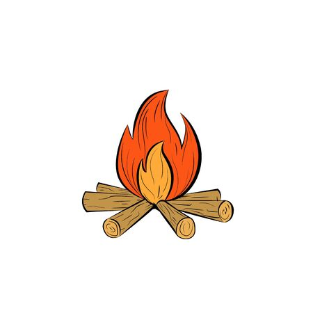 Bonfire color line icon. Camp fire vector outline colorful sign. Иллюстрация