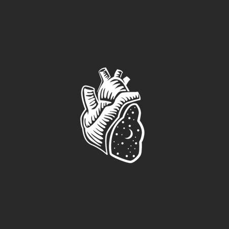 anatomy vintage illustration. Floral anatomical heart. Vector illustration