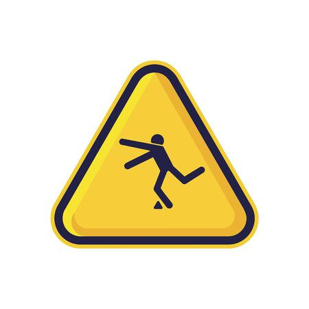 Tripping Hazard Sign Isolated On White Background. Yellow Triangle Warning Symbol Simple, Flat, Vector, Icon You Can Use Your Website Design, Mobile App Or Industrial Design. Vector Illustration Ilustracja