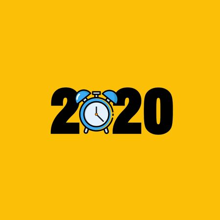 Year 2020 Typography Concept Design with Alarm Clock Ilustracja