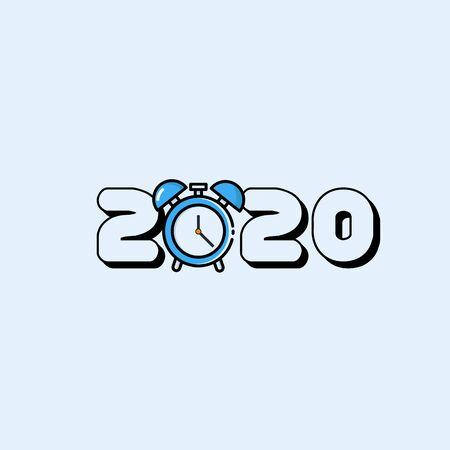 Year 2020 Typography Concept Design with Alarm Clock Ilustração