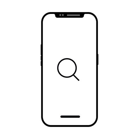 Search icon isolated on smart phone screen. flashlight symbol modern simple vector icon for web site or mobile app