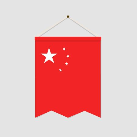 The national flag of China vertical icon isolated on gray background. Language symbol modern, simple, vector, icon for website design, mobile app. Vector Illustration