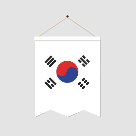 The national flag of South korea vertical icon isolated on gray background. Language symbol modern, simple, vector, icon for website design, mobile app. Vector Illustration