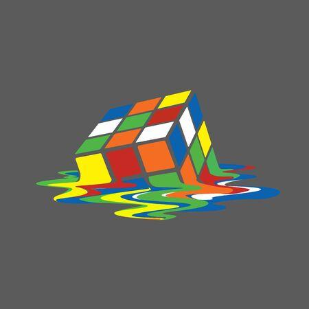 asymmetrical color cube, modern art design background pattern, geometry cubes